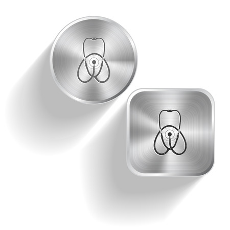 Stethoscope. Vector set steel buttons Vector
