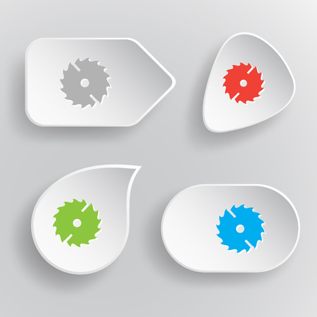 circ saw: Circ saw. White flat vector buttons on gray background. Illustration