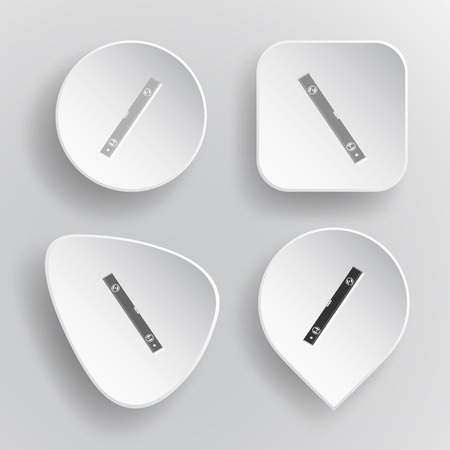 spirit level: Spirit level. White flat vector buttons on gray background.