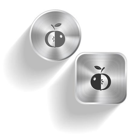 Apple. Vector set steel buttons Vector