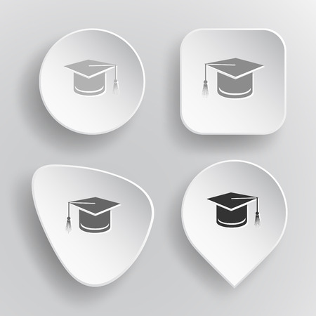 Graduation cap. White flat vector buttons on gray background. Illustration