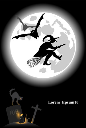 besom: Vector illustration on halloween theme with full moon, witch, bats, black cat, candle and gravestone
