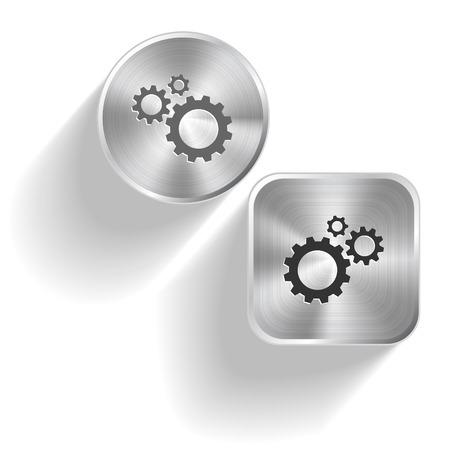 Gears. Vector set steel buttons Vector