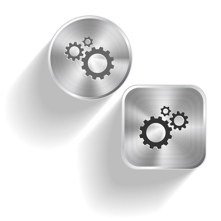 Gears. Vector set steel buttons Vector