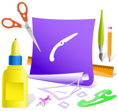 pva: Hand saw. Paper template. Raster illustration. Illustration