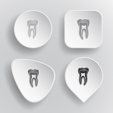 Tooth. White flat vector buttons on gray background. Vector