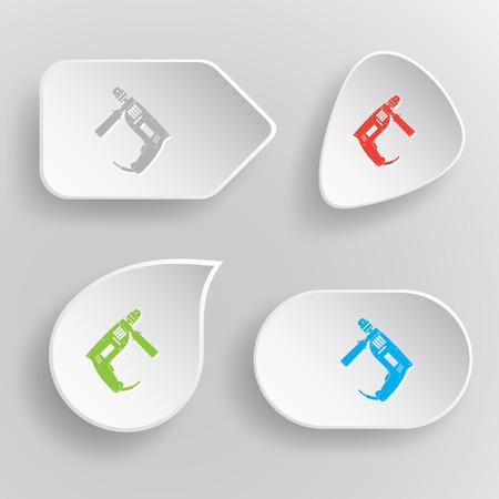 taladro electrico: Taladro el�ctrico. Blanco botones vectoriales planos en fondo gris.