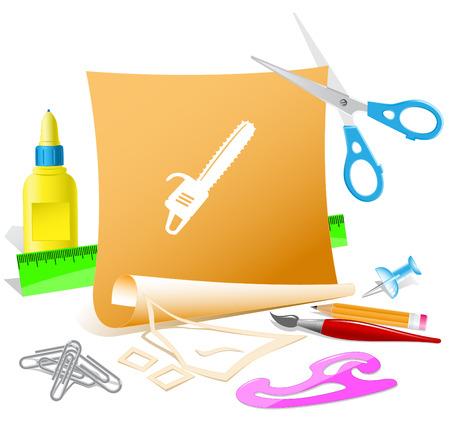 pva: Gasoline-powered saw. Paper template. Raster illustration.