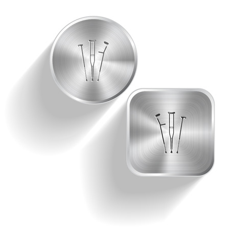 limp: Crutches. Vector set steel buttons