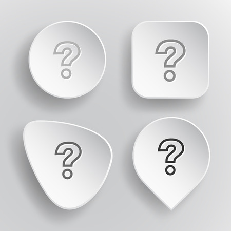 Query. White flat vector buttons on gray background.