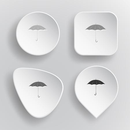 telescopic: Umbrella. Blanco botones vectoriales planos en fondo gris.