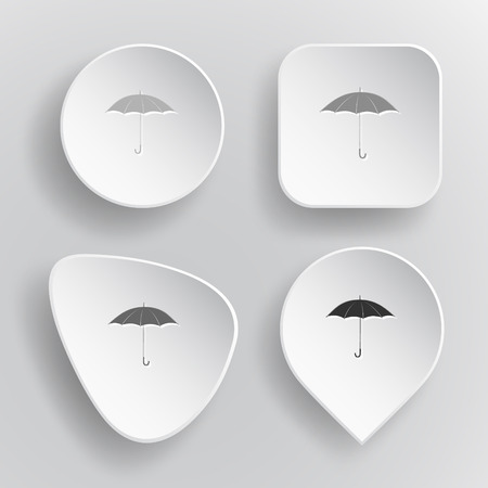 Umbrella. White flat vector buttons on gray background. Illustration
