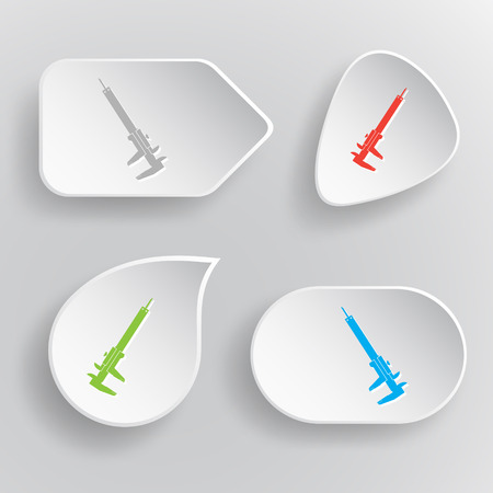 Caliper. White flat vector buttons on gray background. Vector