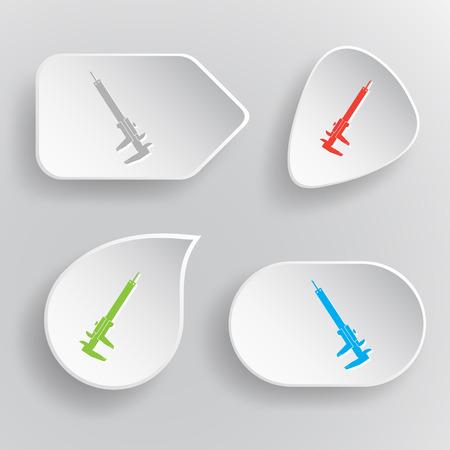 caliper: Caliper. White flat vector buttons on gray background.