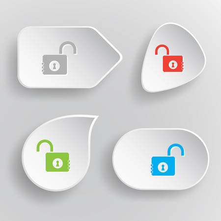 Opened lock. White flat vector buttons on gray background. Vector
