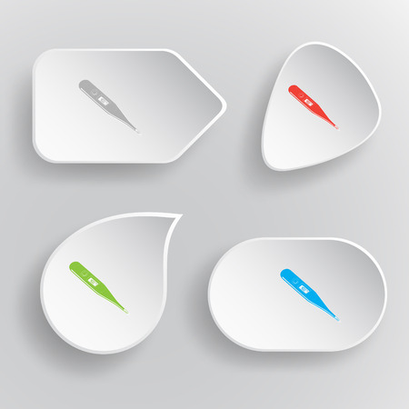 Thermometer. Shows 40 degrees Celsius. White flat vector buttons on gray background. Vector