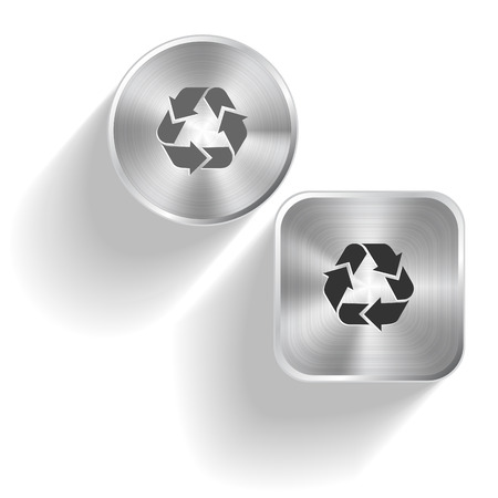 symbol vector: Recycle symbol. Vector set steel buttons