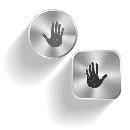 Stop hand set steel buttons Vector