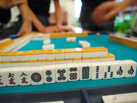 mahjong: An ancient Chinese game called Mahjong as a way to spend your free time with joy and get some fun  Stock Photo