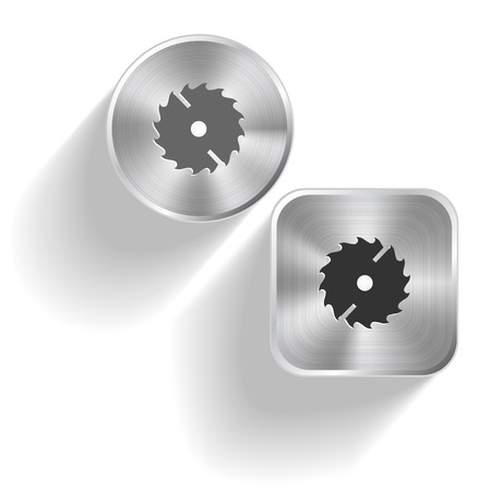 circ saw: Circ saw. Vector set steel buttons Illustration