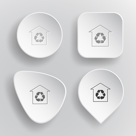Protection of nature. White flat vector buttons on gray background. Vector