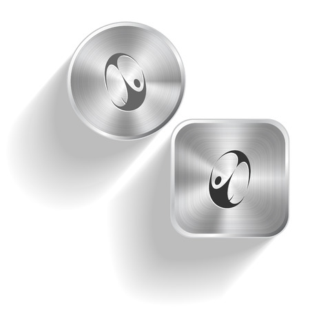 skydiver: Skydiver. Vector set steel buttons