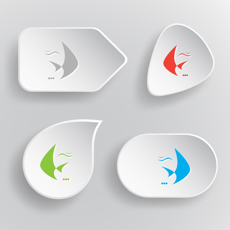 spawn: Fish. White flat vector buttons on gray background.