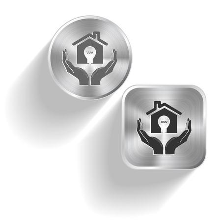flue: economy in hands. Vector set steel buttons