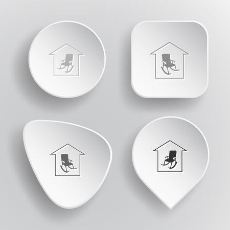 tr�sten: Wohnkomfort. Wei� Flach Vektor-Tasten auf grauem Hintergrund. Illustration