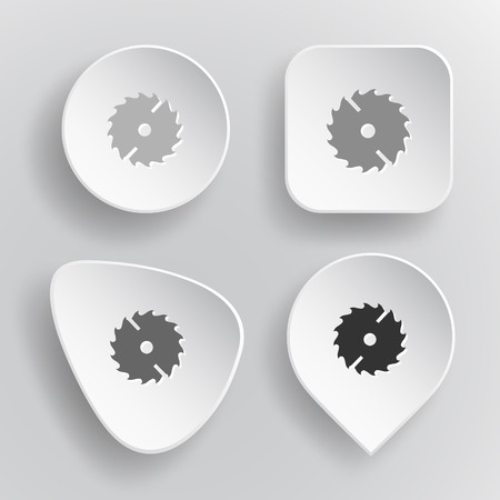 Circ saw. White flat vector buttons on gray background. Illustration
