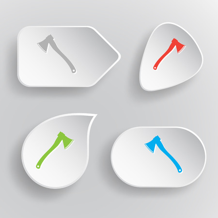 fell: Axe. White flat vector buttons on gray background.