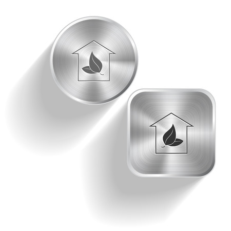 Protection of nature. Vector set steel buttons Vector