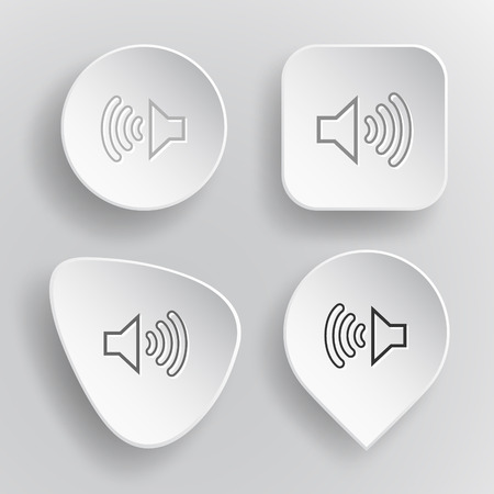 tweeter: Loudspeaker. White flat vector buttons on gray background.