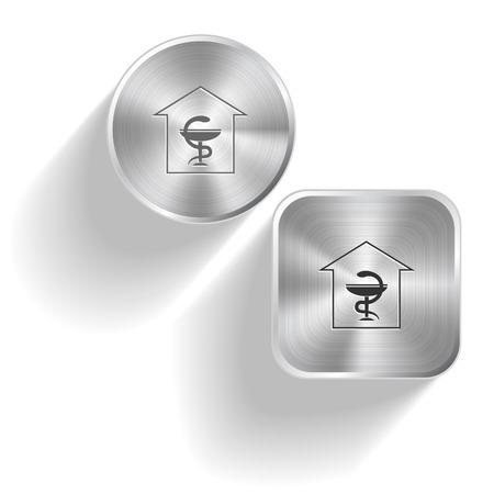 Pharmacy. Vector set steel buttons Vector