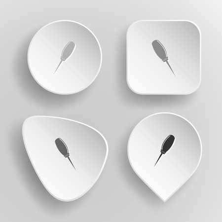 awl: Awl. White flat vector buttons on gray background. Illustration