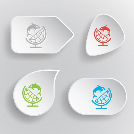 Globe and shamoo. White flat vector buttons on gray background. Vector