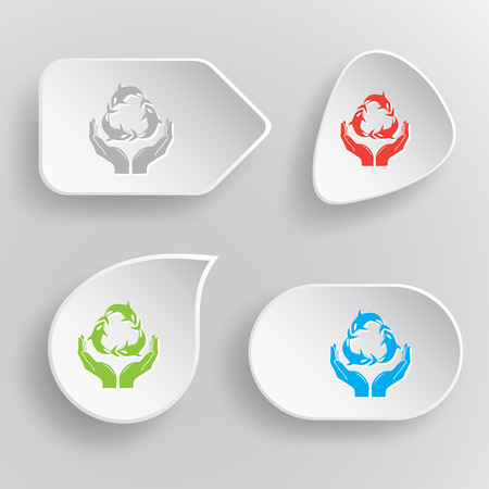 Protection nature. White flat vector buttons on gray background. Vector