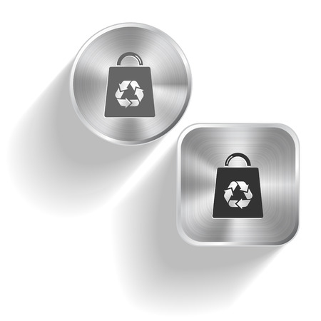 recycle symbol vector: Bag with recycle symbol. Vector set steel buttons