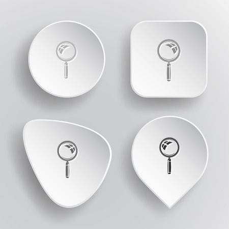 pathfinder: Magnifying glass. White flat vector buttons on gray background. Illustration