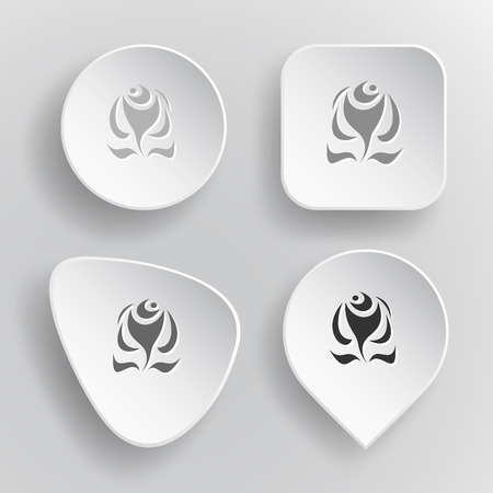 Abstract rose. White flat vector buttons on gray background. Vector