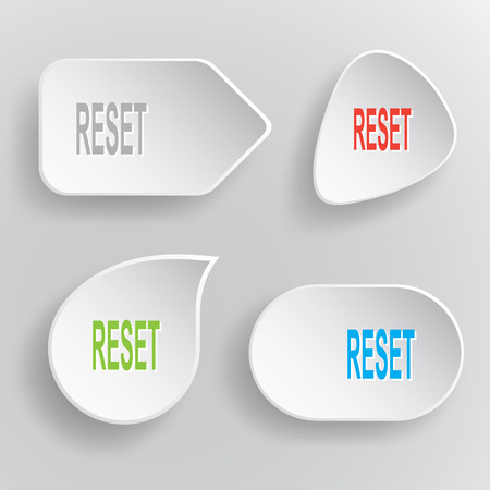 override: Reset. White flat vector buttons on gray background.