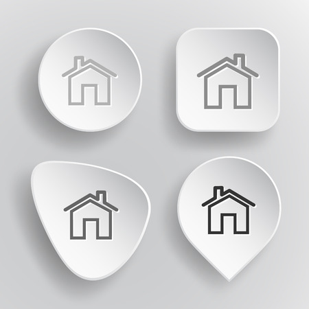 flue: Home. White flat vector buttons on gray background. Illustration
