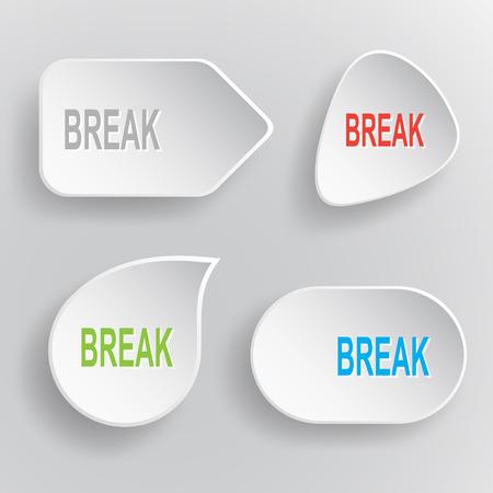 undoing: Break. White flat vector buttons on gray background. Illustration