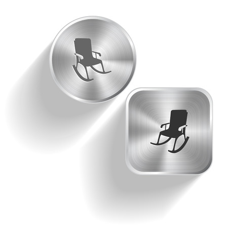 Armchair. Vector set steel buttons Vector
