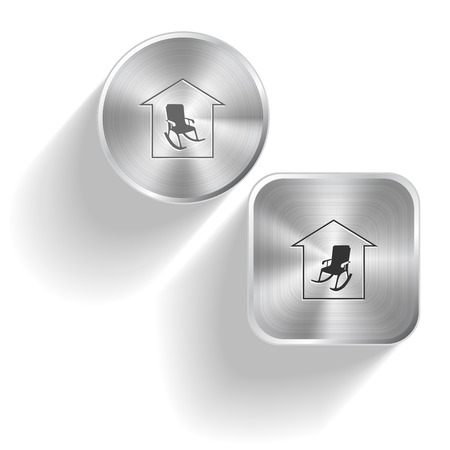 Home comfort. Vector set steel buttons Vector