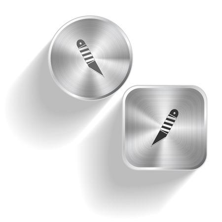 Knife. Vector set steel buttons Stock Vector - 26625743