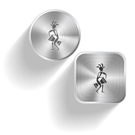 percussionist: Ethnic little man with drum. Vector set steel buttons