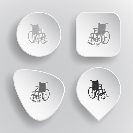 invalid: Invalid chair. White flat vector buttons on gray background. Illustration