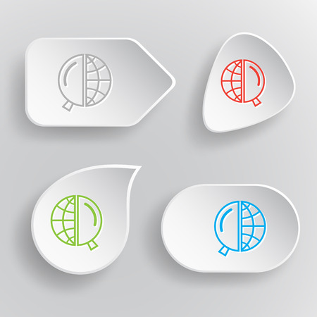 lookup: Globe and magnifying glass. White flat vector buttons on gray background.