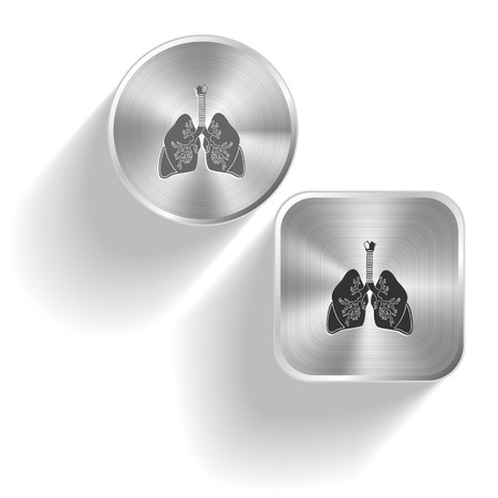 inhaling: Lungs. Vector set steel buttons Illustration